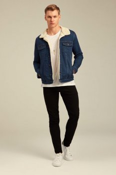 Джинсова куртка з мехом uwest Темно синя