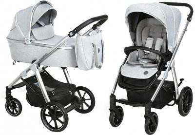 Універсальна коляска 2 в 1 Baby Design Bueno 27 Light Gray без вишивки (203671)