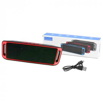 Bluetooth-колонка SC-208 c функцією speakerphone, радіо, Red