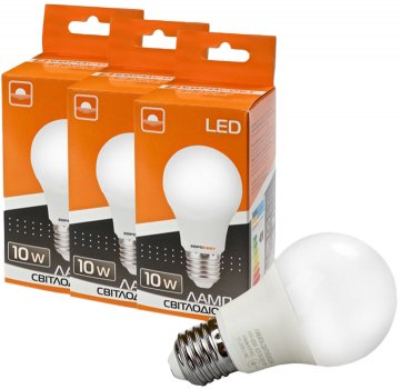 Набір світлодіодних ламп Евросвет 10 W 3000 K Е27 (56866) 3 шт.