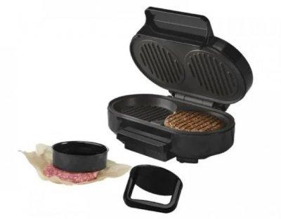 Контактний гриль, бургер мейкер Silver Crest SBM 800 A1, антипригарне покриття, чорний з сірим