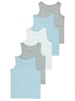 Майка (5 штук) для мальчика George G0041 Голубой, серый, белый (P-6910806230423)