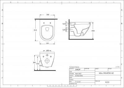 Унитаз подвесной EGE VITRIFIYE Dropia 82323 (NCU 900 C)с сиденьем Soft Close дюропласт