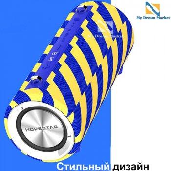Портативна колонка Hopestar H39 з мікрофоном з Bluetooth вологозахищена - Портативна акустична система з ременем - гучномовець USB + потужний акумулятор - micro SD + FM-радіо, Синє жовта