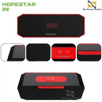 Портативна Колонка Hopestar P8 USB вологозахищена Bluetooth і функцією гучного зв'язку - Портативна акустична система з хорошим звучанням і басом - Акустика з функцією PowerBank + AUX, Black-red