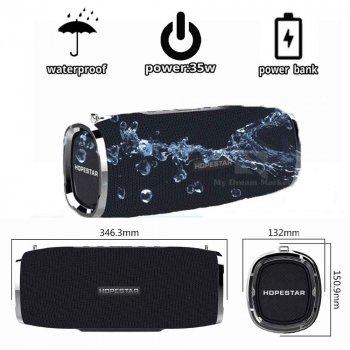 Портативна колонка Hopestar A6 вмонтований сабвуфер потужного баса - вбудований мікрофон і функція гучного зв'язку - Бездротова музична акустична вологозахищена блютуз система, Black