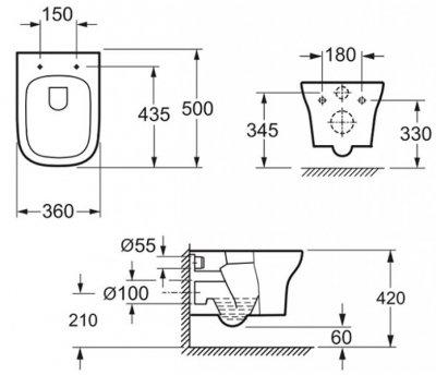 Унітаз підвісний PRIMERA Tyrol 8320023 Clean Pro безобідковий зі сидінням Soft Close дюропласт