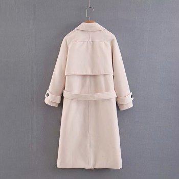 Пальто жіноче довге з поясом Elegant Berni Fashion Size) Молочне (55603)