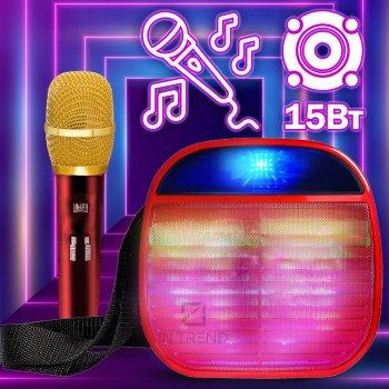 Портативна колонка Wireless A25 переносна ЮСБ з гучним звуком і світлом для телефону, комп'ютера, ноутбука - Музична USB акустична стерео система з мікрофоном + роз'єм під флешку + Bluetooth + AUX + карта пам'яті, Червоний