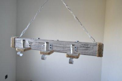 Дерев'яна люстра WML масивний брус Прованс на 6 ламп