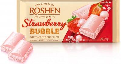 Упаковка шоколада Roshen со вкусом клубники пористый белый 80 г х 20 шт (4823077627743)
