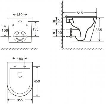 Унітаз підвісний VOLLE Nemo Black Rimless 13-17-316 із сидінням Slim Soft Close дюропласт