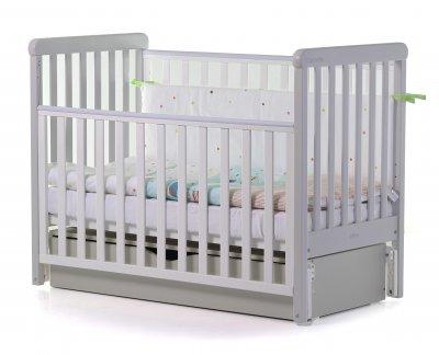 Кроватка детская 2 в 1 Carello Alba деревянная с коробом маятникового механизма + ящик для хранения Белый/Светло-серый