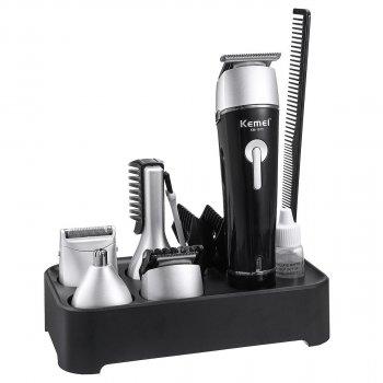 Триммер стайлер для стрижки волос и бороды профессиональный аккумуляторный беспроводной Kemei KM-1015 4в1 Черный
