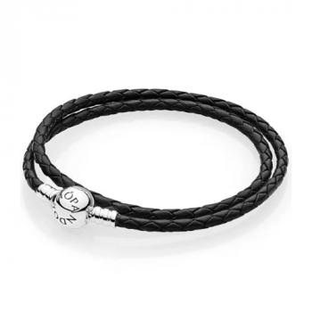 Серебряный кожаный браслет Пандора 590745CBK-D
