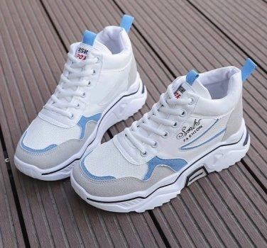 Високі кросівки Fashion Sports білі з блакитним 2033-1