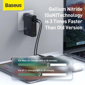 Мережевий зарядний пристрій Baseus GaN 2in1 QC3.0+PD3.0 45W USB+Type-C 5A з функцією Павербанка 10000mAh + кабель Type-C 60W 20V/3A 1м Чорний