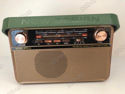 Радіоприймач Bluetooth акумуляторний з пультом управління радіо Kemai (РЕТРО-505-BT) з ручкою