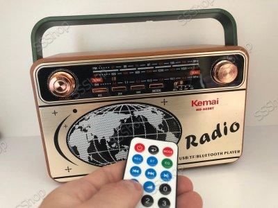 Радіоприймач Bluetooth акумуляторний з пультом управління радіо Kemai (РЕТРО-503-BT) з ручкою