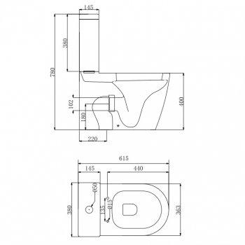 Унітаз-компакт DEVIT Універсальний безободковый з сидінням Soft Close Quick-Fix дюропластів (3010162)