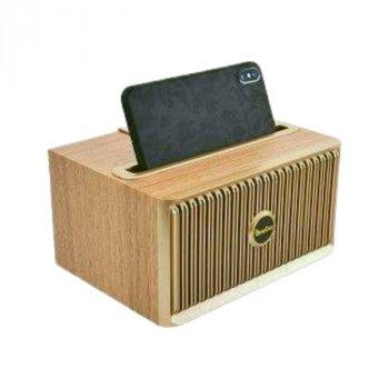 Портативна колонка - підставка OneDer V6 (Bluetooth, MP3, FM, AUX) в ретро стилі, світле дерево