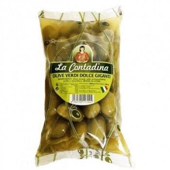 Гигантские оливки желтые с косточкой La Contadina olive verdi dolce giganti 850 г