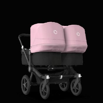 Bugaboo Коляска для двійні Donkey 3 Twin 2020, Black, Black, колір Soft pink