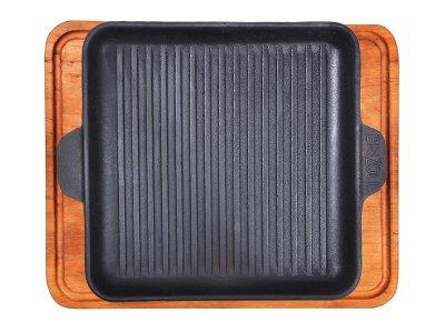 Сковорода-гриль Brizoll чавунна з дошкою 180x180x25 мм