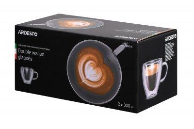 Набор Ardesto чашек с ручками с дв. стенк. в виде сердца, 300 мл-2 шт (AR2630GHL)