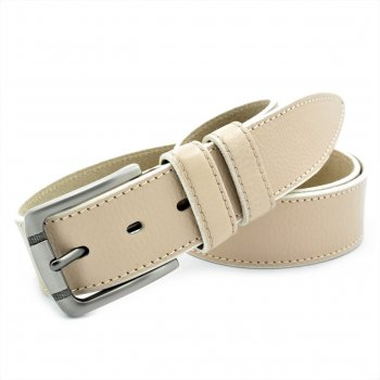 Кожаный ремень мужской Weatro 110-125х4 см (acs0013907) Бежевый