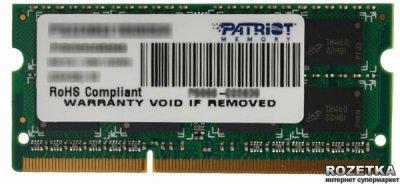 Оперативная память Patriot SODIMM DDR3-1600 4096MB PC3-12800 (PSD34G16002S_PSD34G160081S)