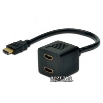 Кабель Digitus  HDMI Y 0.2 м Black (AK-330400-002-S)
