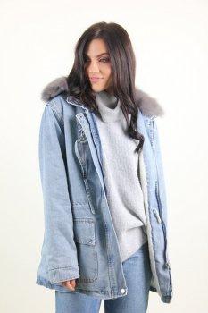 Куртка женская Джинс Lingjeer 405 меховая подкладка (Синий )