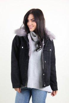 Куртка женская M.J. 1112 с мехом внутри (Черный )