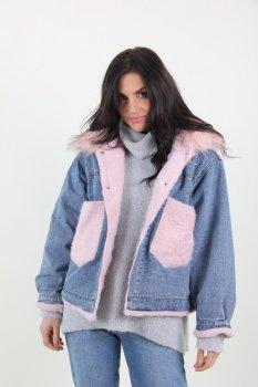 Куртка женская Джинс Yuyanfushi 9870 искусственный мех (Розовый )