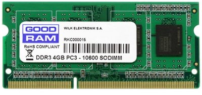 Оперативна пам'ять Goodram SODIMM DDR3-1333 4096MB PC3-10600 (GR1333S364L9S/4G)