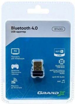 Адаптер Grand-X Bluetooth 4.0 aptX (BT40G)
