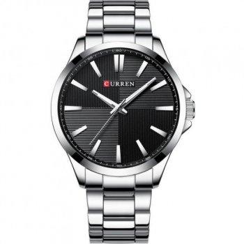 Мужские кварцевые часы Curren Silver наручные классические на стальном браслете + коробка (1008-0182)