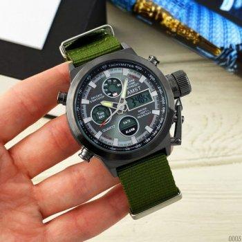 Мужские кварцевые часы AMST Black наручные армейские на нейлоновом ремешке + коробка (1094-0003)