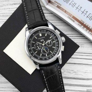 Мужские механичиские часы Forsining Black наручные классические на кожаном ремешке + коробка (1059-0022)