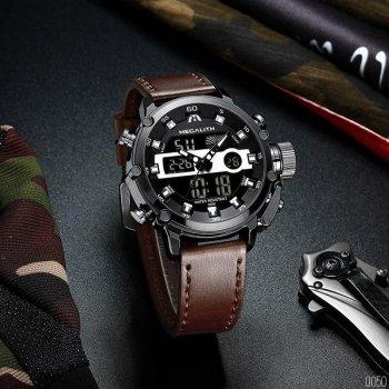 Мужские кварцевые часы Megalith Brown наручные спортивные на кожаном ремешке + коробка (1088-0050)