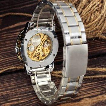 Мужские механичиские часы Winner Silver наручные классические на стальном браслете + коробка (1099-0026)