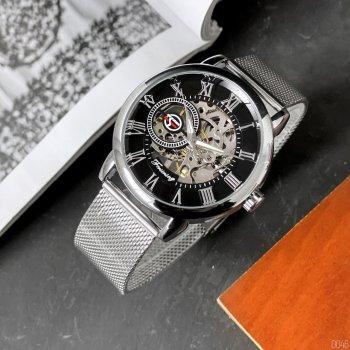 Мужские механичиские часы Forsining Silver наручные классические на стальном браслете + коробка (1059-0046)