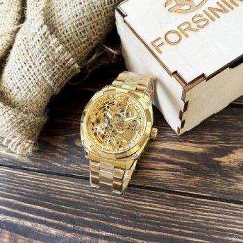 Мужские механичиские часы Forsining Gold наручные классические на стальном браслете + коробка (1059-0047)