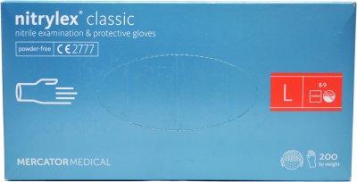Перчатки нитриловые смотровые Nitrylex Classic нестерильные неопудренные размер L 100 пар Синие (52-111)
