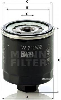 Фильтр масляный MANN W 712/52-W 712/53-W712/39