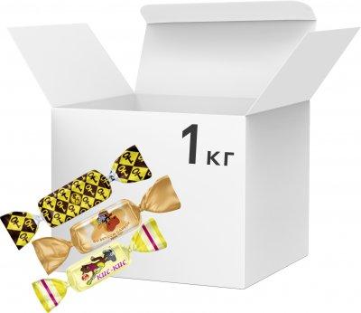 Упаковка конфет Bayan Sulu Ассорти ирисов: Золотой ключик, Кис-кис, со вкусом сливок 1 кг (2220100001236)