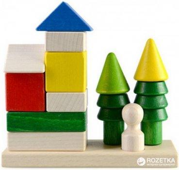 Деревянная пирамидка-конструктор Руді Домик в лесу 12 деталей (Ду-24)