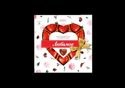 Цукерки Любимов Сердечки в молочному шоколаді 125 г (4820005195091)