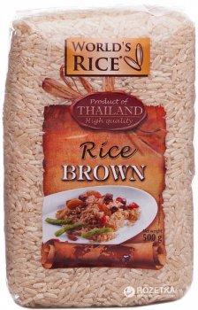 Рис World's Rice коричневый, нешлифованный 500 г ()